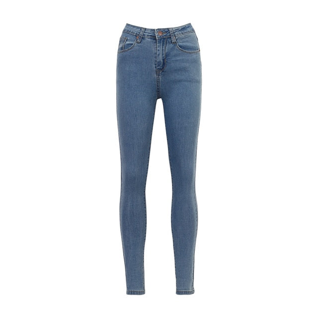 WIXRA Basic Jeans Vintage Mom Fit High Waist Stretched Jeans Femme Women Washed Blue Denim Skinny Jeans Classic Pencil Pants-geekbuyig