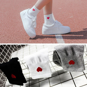 1 Pair New Kawaii Cute Socks Women Red Heart Pattern Soft Breathable Cotton Socks Ankle-High Casual Comfy Socks Fashion Style-geekbuyig