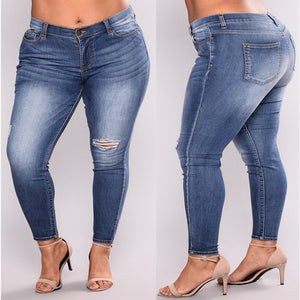 PLUS SIZE Jeans Women High Waist Skinny Pencil Blue Denim Pants women ripped hole washed Jeans women 4XL 5XL 6XL 7XL big hip-geekbuyig