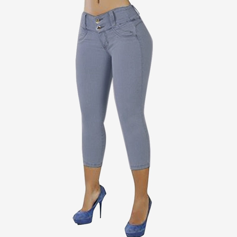 S 5XL ZANZEA Women Summer Stretch Skinny Capris Pantalon Fashion Casual Solid High Waist Slim Trousers Denim Blue Pencil Pants-geekbuyig