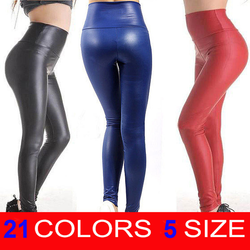 Free shipping 2018 New Fashion women's Sexy Skinny Faux Leather High Waist Leggings Pants XS/S/M/L/XL 22 colors-geekbuyig