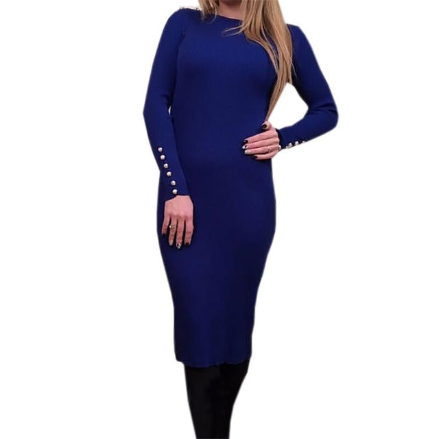 Fashion Women Sexy Bodycon Dress Autumn Winter Knitted Midi Dress Robe Solid Long Sleeve Package Hip Party Dresses Robe GV420-geekbuyig