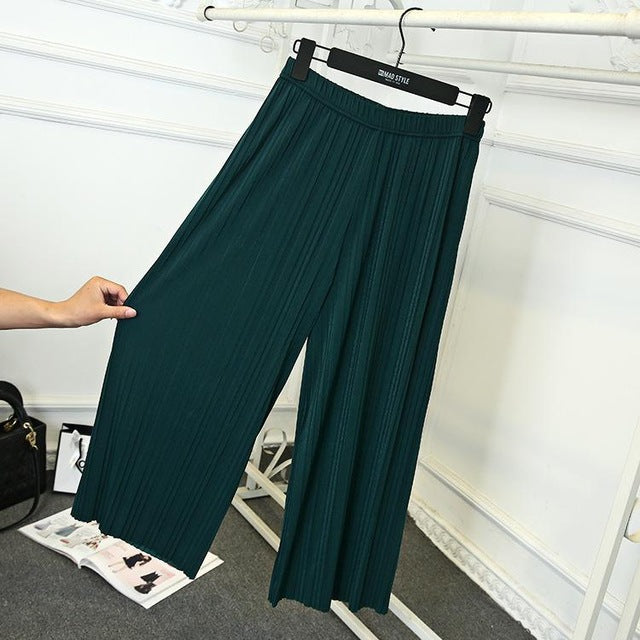 2018 Summer Female Wrinkle High Waist Loose Thin Section Wide Range Of Chiffon Legs Pants Fashion Sexy Korean Pants-geekbuyig