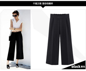 Summer Wide Leg Pants Womens Pants High Waist Loose Straight Nine Pants Womens Casual Pants Large Size 6XL-geekbuyig