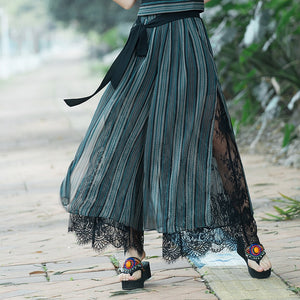 New Plus size Summer Fashion Women Striped Wide Leg Lace Bow Loose Dress Pants Female Casual Skirt Trousers Capris Culottes-geekbuyig