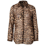 New Style Women Wild Leopard Print Blouse Lady Sexy Long Sleeve Tops Loose V Neck Leopard Shirt-geekbuyig