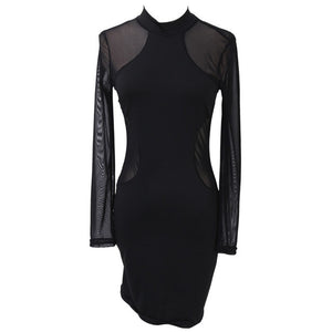 Sexy Women Dress See Through Mesh Bandage Bodycon Long Sleeve Women Clothes Evening Sexy Party Clubwear Sexy Mini Skinny Dress-geekbuyig