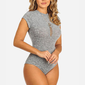 Sexy S-XL Women Short Sleeve Crew Neck Bodysuit Lady Sexy New Arrival Clothes Brief Bodysuit-geekbuyig