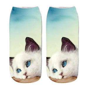 1 Pair Fashion Concise Style Cat Printed Ankle Crew Mens Cotton Boat Socks Low Cut Casual-geekbuyig