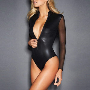 CFYH 2018 New Sexy Black Catwomen Jumpsuit Grenadine Sleeve Latex Catsuit Costumes for Women Body Suits Fetish Leather Jumpsuit-geekbuyig