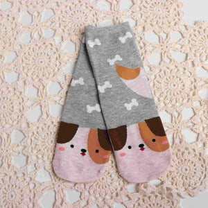 Fashion Cartoon Socks Dog Cat Women Footprints 3D Animals Style Warm Cotton Socks Lady Floor Socks for Female-geekbuyig