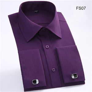 New Plus size M to 6xl France Cufflink all weather solid twill/striped business men dress shirts Patchwork white collar and cuff-geekbuyig