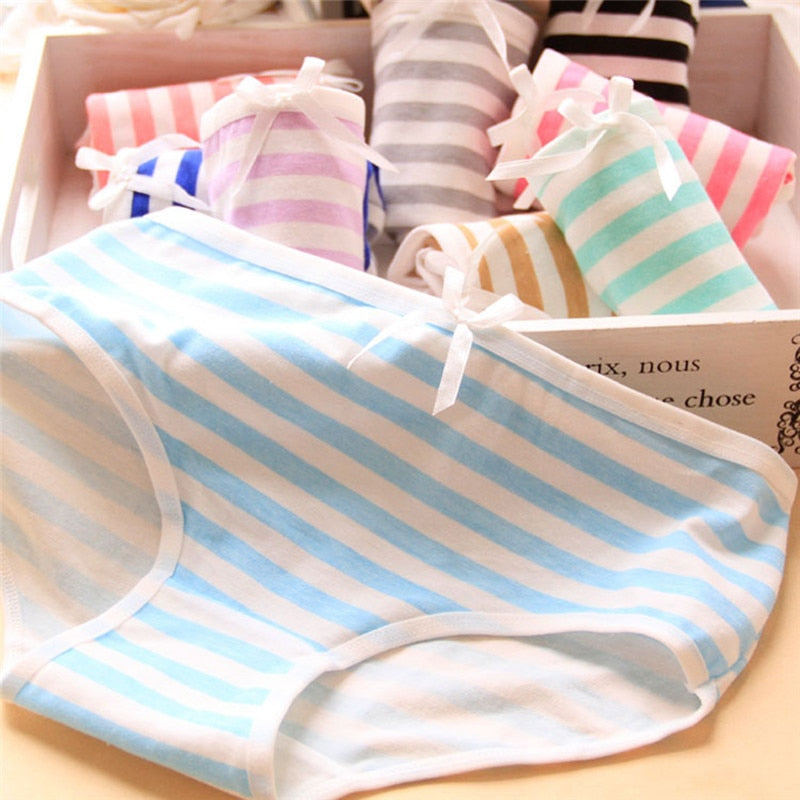 JETTING Panties Stripes High Quality Bowknot Tanga Lovely Cute Sexy Underwear Women Panties Cotton Briefs-geekbuyig