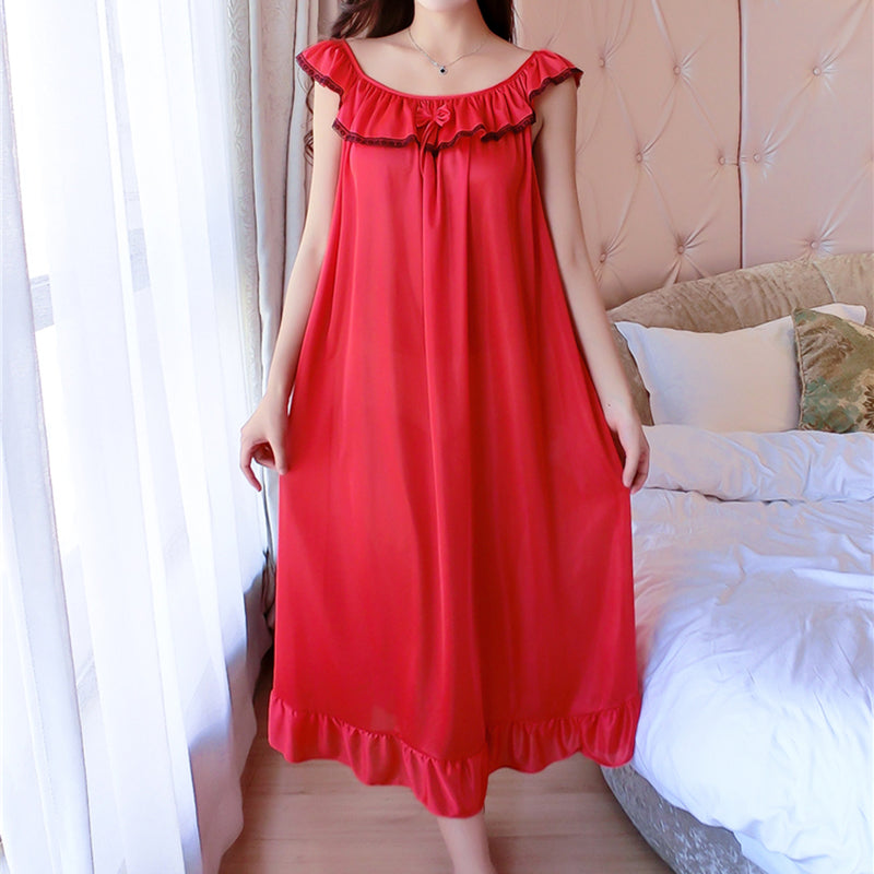 Plus Size 4XL Women's Silk Clothing Nightgowns Ladies Sexy Lace Sleepwear 2018 Summer Girls Sleeveless Sleepdress Sleepshirts-geekbuyig