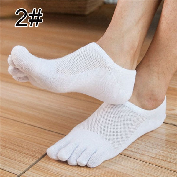 Five Finger Toe Socks Men Fashion Breathable Cotton Nonslip Socks Anti-skid Calcetines No Show Short Invisible Socks-geekbuyig
