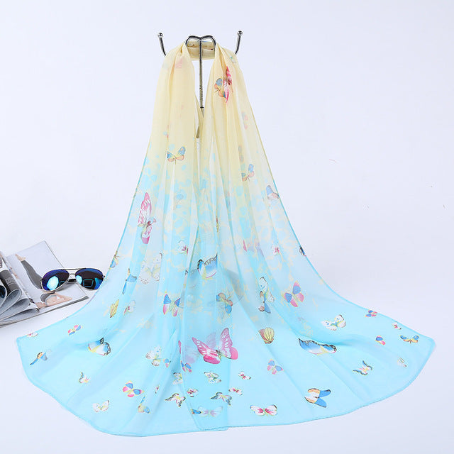 Long Chiffon Silk scarves Fashion Design butterfly scarves designers women Summer Sunscreen Scarves Shawl P5A16284-geekbuyig