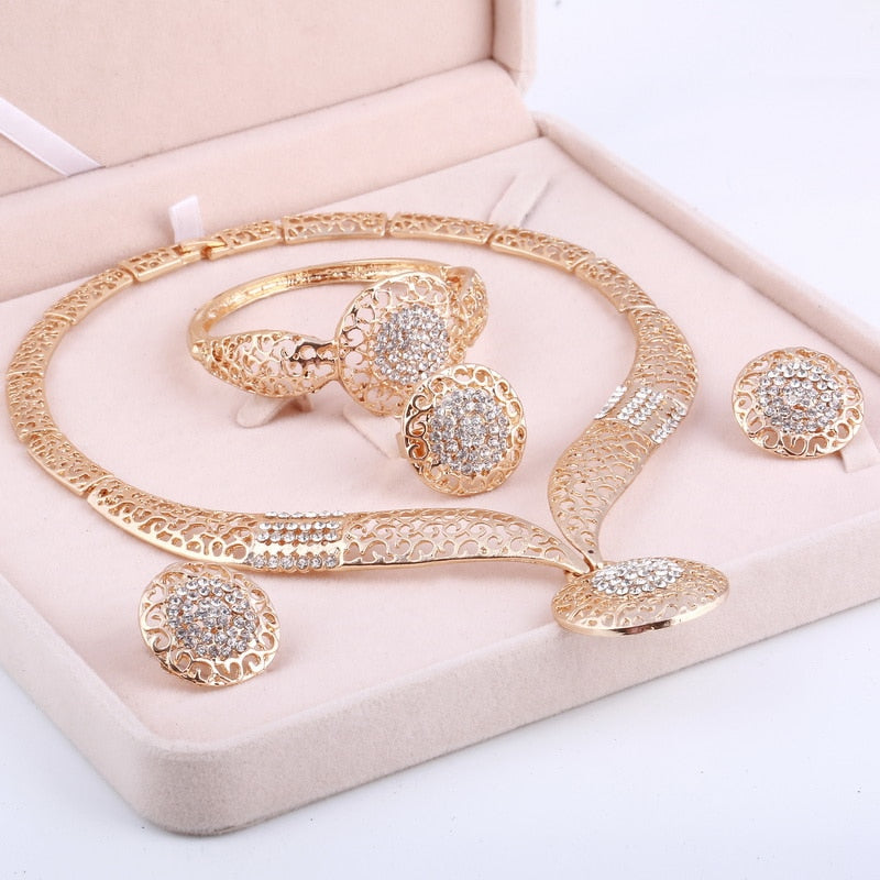 Dubai Gold Jewelry Sets Nigerian Wedding African Beads Crystal Bridal Jewellery Set Rhinestone Ethiopian Jewelry parure-geekbuyig