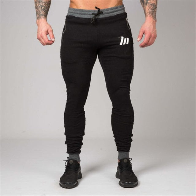 2018 autumn and winter men's pure cotton pants, new gyms fitness pants joggings exercise pencil pants men's printing brand-geekbuyig