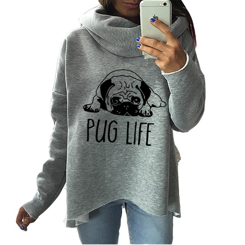 Cute Pug Dog Anime Christmas Clothes 2018 Women Winter Hoodies Scarf Collar Fashion Casual Autumn Sweatshirts Rough Pullovers-geekbuyig