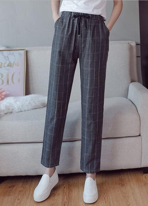 2018 spring and summer new arrival women plaid ankle-lenght casual pants harlan pants elastic waist loose fashion lady trousers-geekbuyig