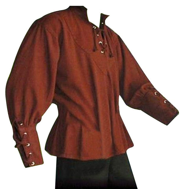 Medieval Men Shirt Solid Color Bandage Stand-up Collar Knight Top Without Belt-geekbuyig