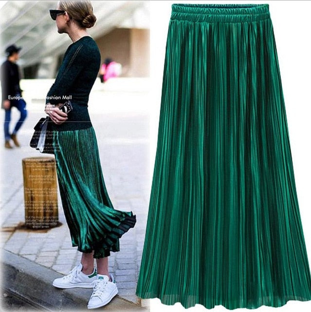 Silver Gold Pleated Skirt Womens Vintage High Waist Skirt 2018 Summer Long Skirts New Fashion Metallic Skirt Female-geekbuyig