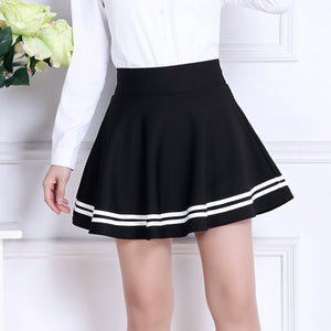 2018 Sweet Pleated Skirt Women Preppy Style Mini High Waist Skirt Girls Vintage Black White Cute School Uniforms Skirts-geekbuyig