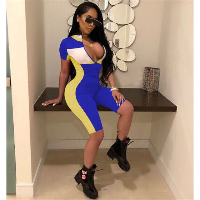 2018 Summer Playsuits Shorts Casual Rompers Sexy V-Neck Front Zipper Striped Bodycon Jumpsuit Fitness Workout Bodysuit Catsuit-geekbuyig