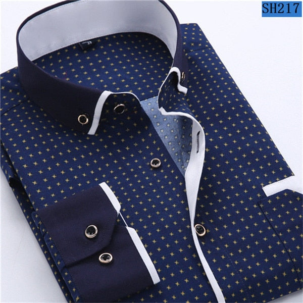 2018 Men Fashion Casual Long Sleeved Printed shirt Slim Fit Male Social Business Dress Shirt Brand Men Clothing Soft Comfortable-geekbuyig