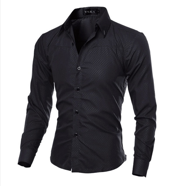 5XL Plus Size Brand-clothing Cotton Mens Clothing Solid Soft Men Shirt Long Sleeve Mens Shirts Casual Slim Fit Hot Sale-geekbuyig