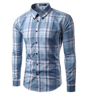 2018 new brand men shirt Long sleeve camisa soical masculina mens plaid dress shirt Casual chemise homme plus size M-3XL-geekbuyig