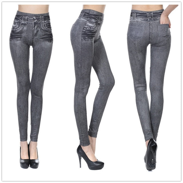 Plus Size Sexy Push Up Fake Jeans Leggins for Women Denim Pencil Pants Slim Fitness Jeggings Leggings With Two Real Pockets-geekbuyig