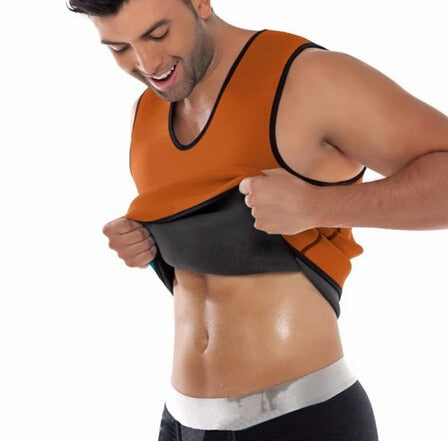 Black Neoprene Weight Loss Mens Body Shapers Vest Slimming Fitness Waist Tops Sweat Shapwear Shirts Hot Plus Size M-4XL-geekbuyig
