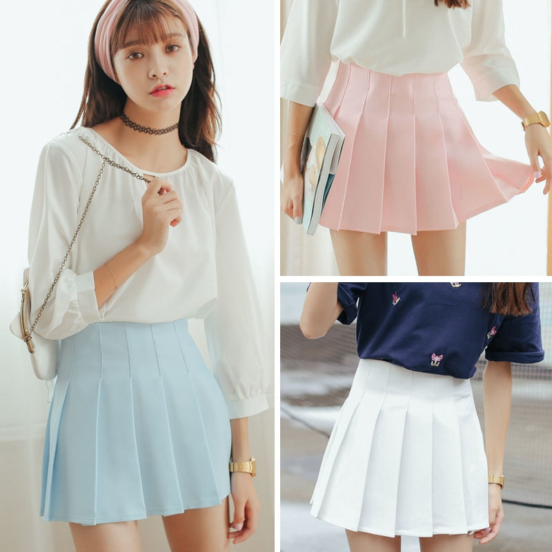 6 Color Large Size Japanese School Uniform Skirts 2018 High Waist Denim Pleated Skirts Harajuku Girls A-line Mini Sailor Skirt-geekbuyig
