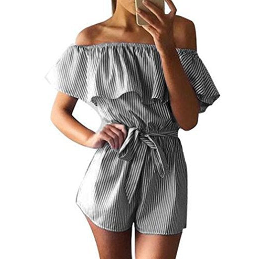 Sexy floral ruffles jumpsuit women romper summer backless jumpsuit lady new Shorts boho beach jumpsuit coveralls female frock-geekbuyig