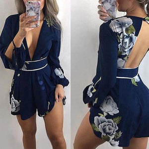 Sexy Deep V Print Playsuits Navy Short Floral Printed Bodysuit Summer Beach Club Elegant Jumpsuit Rompers-geekbuyig