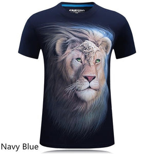 2018 summer Men's brand clothing O-Neck short sleeve animal T-shirt monkey/lion 3D Digital Printed T shirt Homme large size 5xl-geekbuyig