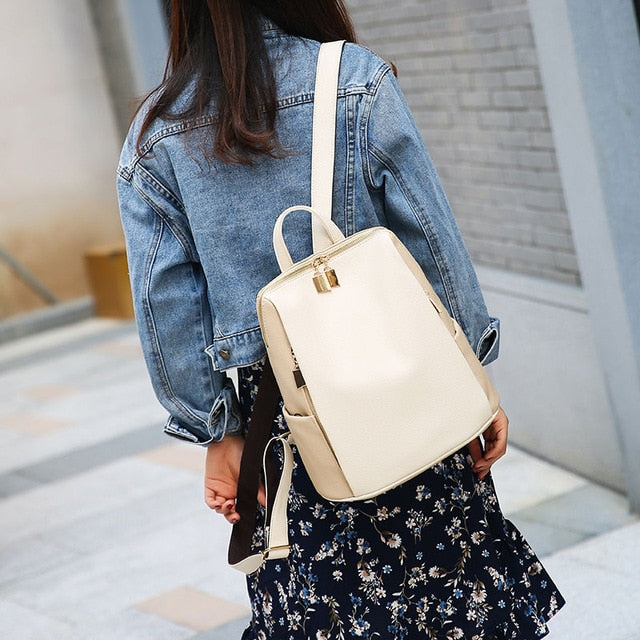 Women Backpack for School Style Leather Bag For College Simple Design Women Casual Daypacks mochila Female Famous Brands168-325-geekbuyig