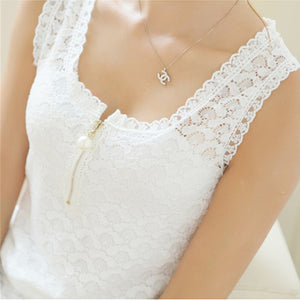 Fitness Tank Tops Summer Style Ladies Tops Beaded White Lace Blouse Shirt 2018 S-XXXL Hollow Out Sleeveless Tank Top Women Camis-geekbuyig
