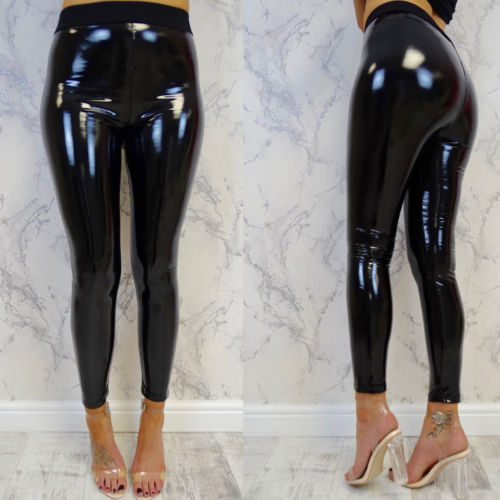 Womens Sexy Black Pants High Wait Slim Soft Strethcy Shiny Skinny Wet Look Faux Leather Leggings Pants Black-geekbuyig