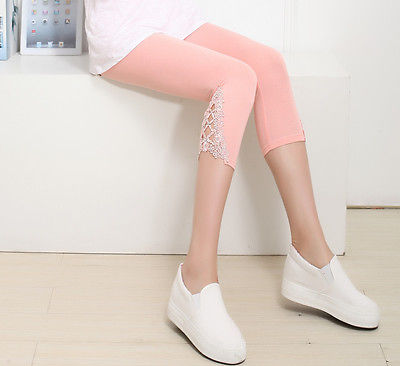 Hot Womens Crop 3/4 Length Leggings Clothes Capri Cropped Lace Summer Modal High Quality pants-geekbuyig