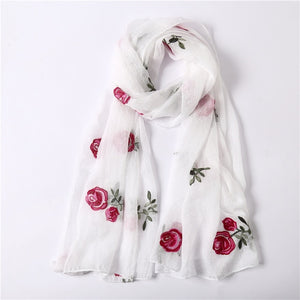 2018 spring summer women scarf Embroidery silk scarves soft floral shawls and wraps lady pashmina beach stoles-geekbuyig