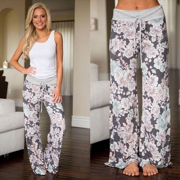 New Spring 2018 Causal Women Pants Printed Drawstring High Waist Straight Women Loose Pants Plus Size Ladies Long Trousers-geekbuyig