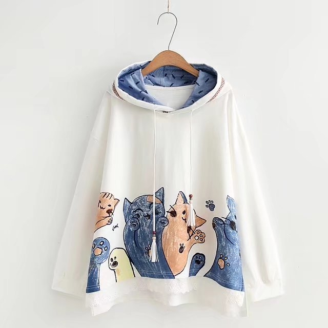 Kawaii Cat Printed Hoodies Female Lace Patchwork Hem Autumn Outerwear 2018 New Women's Funny Loose Hooded Tracksuit Sweatshirts-geekbuyig