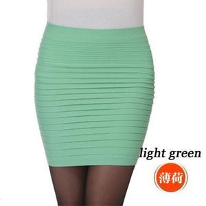New Fashion 2018 Summer Women Skirts High Waist Candy Color Plus Size Elastic Pleated Pencil Short Skirt Mini Skirt Black Blue-geekbuyig