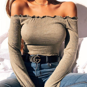 Women Off Shoulder Crop Top Shirt Female Sexy Long Sleeve Tshirt Tumblr 2018 Fashion Summer Casual Tops Tee Blusas Femininas-geekbuyig
