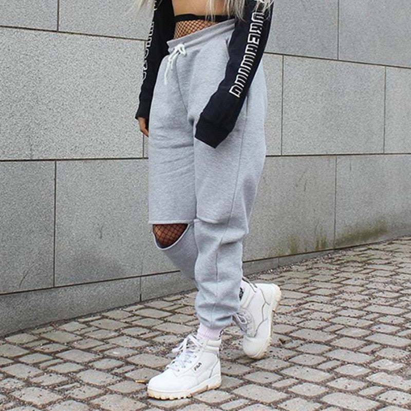 Women Loose Baggy Trousers Fashion 2018 Spring Grey Solid Distress Joggers Sweatpants Ripped Hiphop Dance Pants Plus Size-geekbuyig