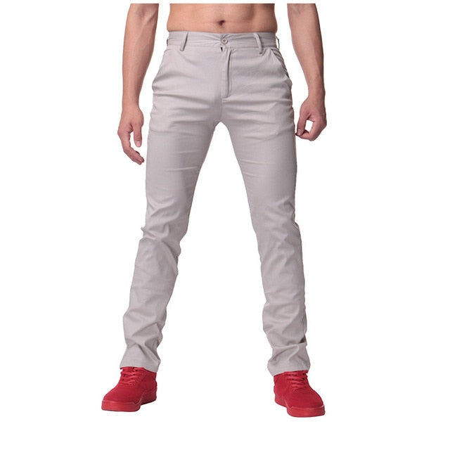 2018 Brand Autumn Spring 100% Cotton Casual Pants Slim Straight Men Cargo Pants Man Long chinos Trousers Business Pants Suits-geekbuyig