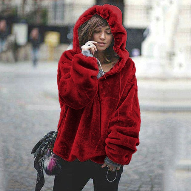 Oversized Hoodies Sweatshirt 2018 Winter Warm Long Sleeve Coats Women Casual Ladies Coral Velvet Zip Hooded Jumper Tops Pullover-geekbuyig