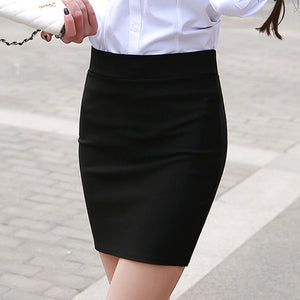 1 pc spring and summer Women Skirt High Waist Pencil Skirts Elastic Slim Office Black and plaid Skirt Two styles-geekbuyig